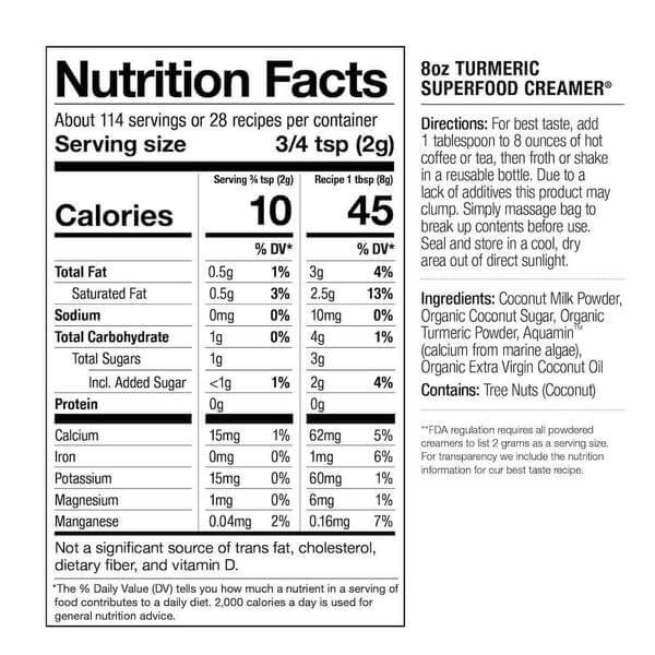 Nutrition facts about turmeric