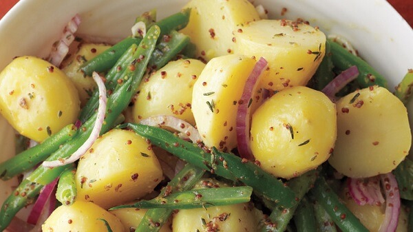 Cooked potato and green bean salad